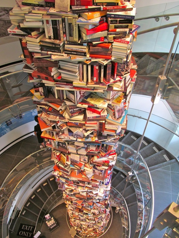 """""""The tower of books about Abraham Lincoln, symbolizing that the last word about this great man will never be written."""" – Ford's Theatre"""