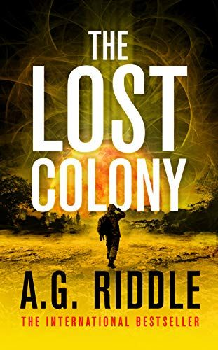 Book cover featuring the silhouette of a man against a yellow background representing a sun rising over an alien landscape.