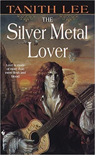 Book cover featuring a silver man with flowing red hair playing the guitar.